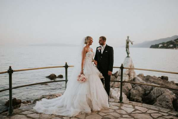opatija; get marride in opatija; wedding opatija; destination wedding opatija; destination wedding planner opatija; wedding planner croatia; marrytale: bridal couple; bride; groom; seaside shooting opatija