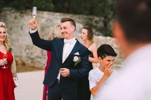 Groom having a toast